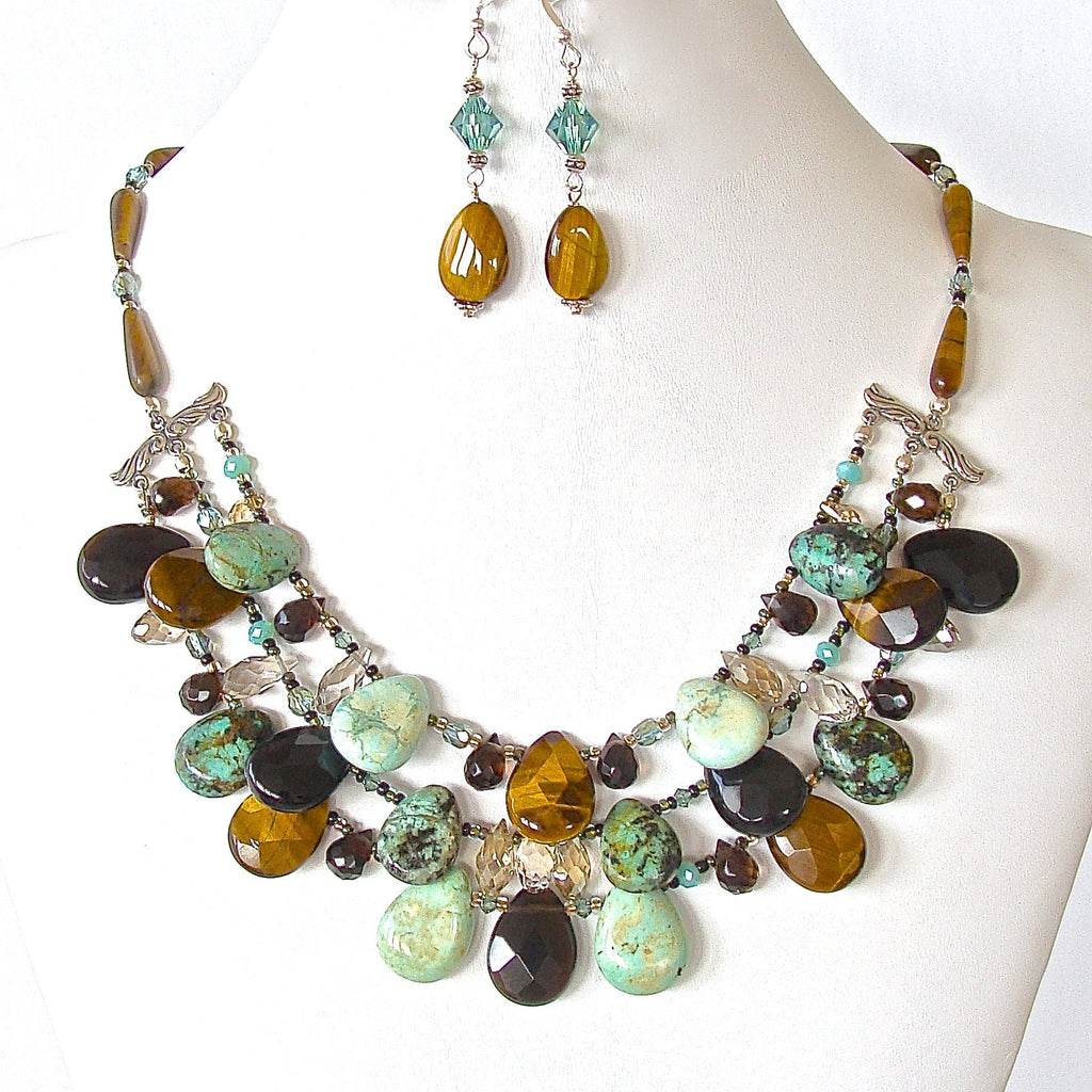 Tigers eye and Turquoise Gemstone Bib Necklace