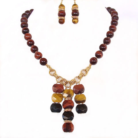 Tigers eye pendant necklace set