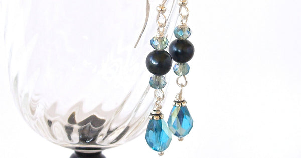 Turquoise and teal Crystal Earrings
