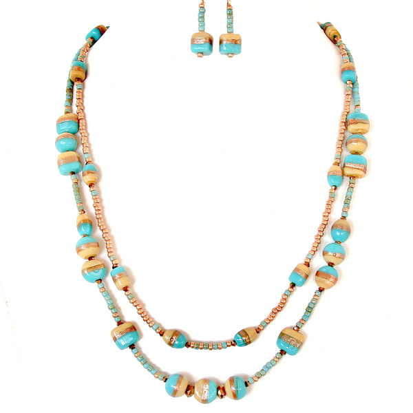 Turquoise Glass Bead Necklace Set