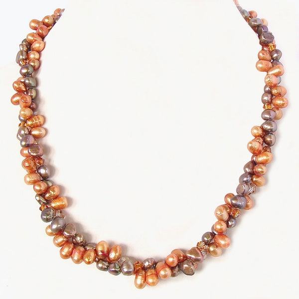 Twisted Pearl Necklace in Orange