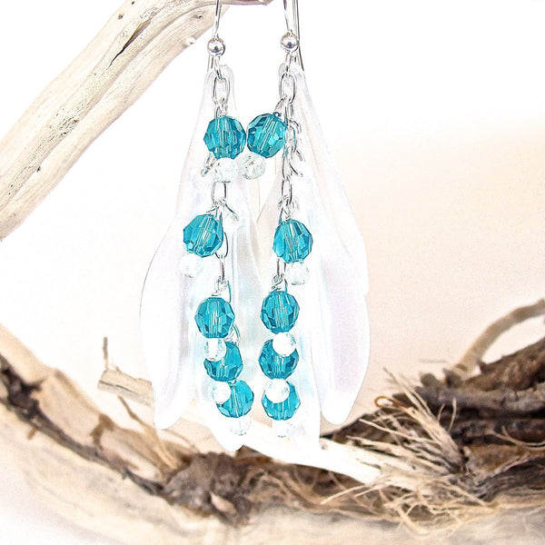 White and aquamarine petal earrings