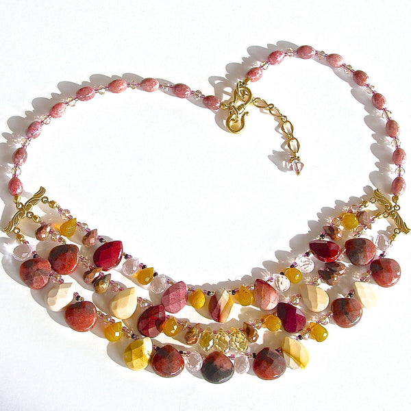 Wine colored statement necklace