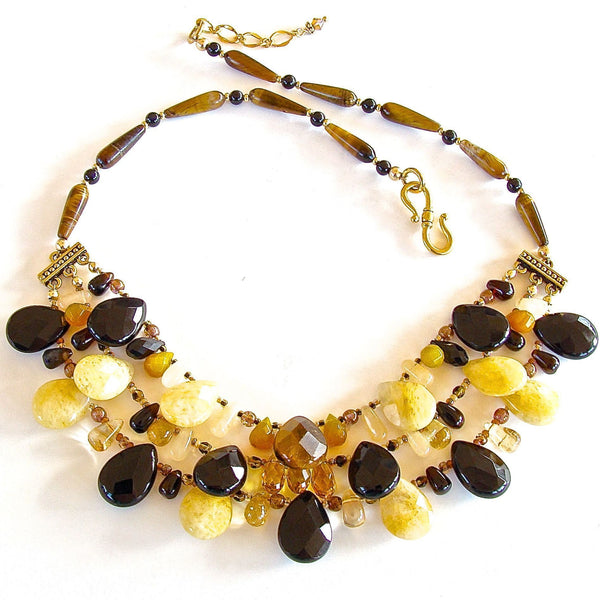 "Smash: 17.5"" Onyx and Tigers Eye Necklace"