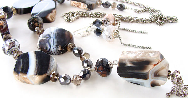agate slab necklace set