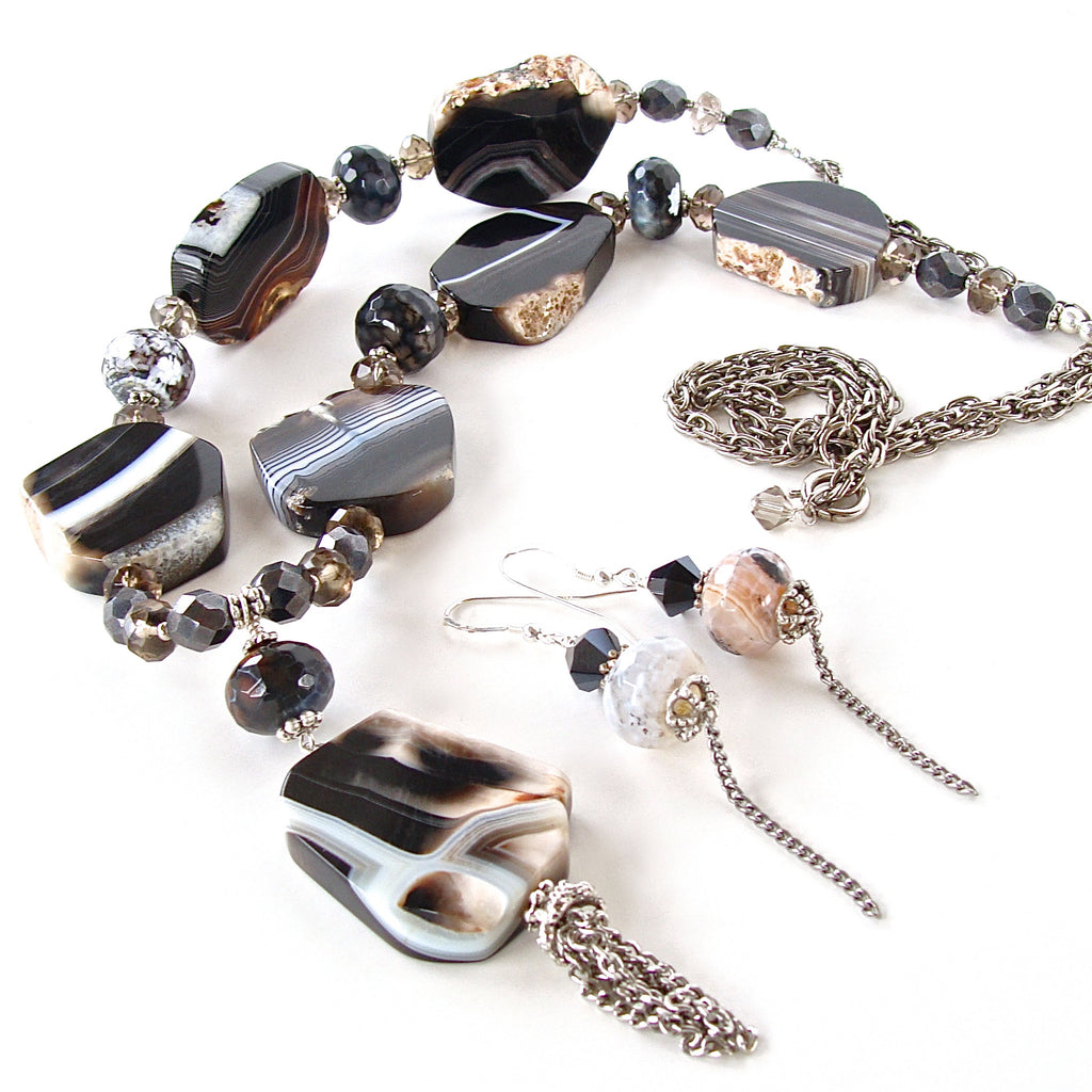 Agate slice pendant necklace set