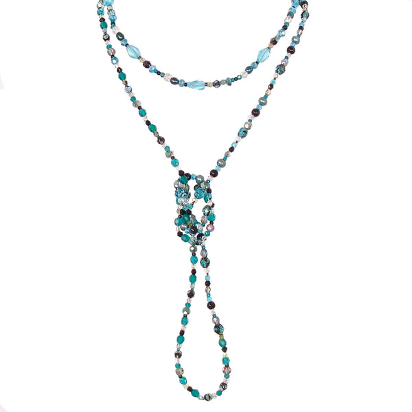 beaded black and teal necklace