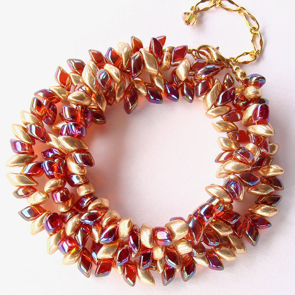 beaded wrap bracelet in holiday colors