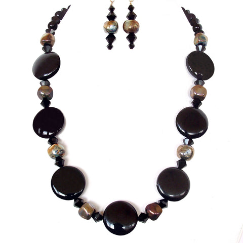 black gemstone necklace set