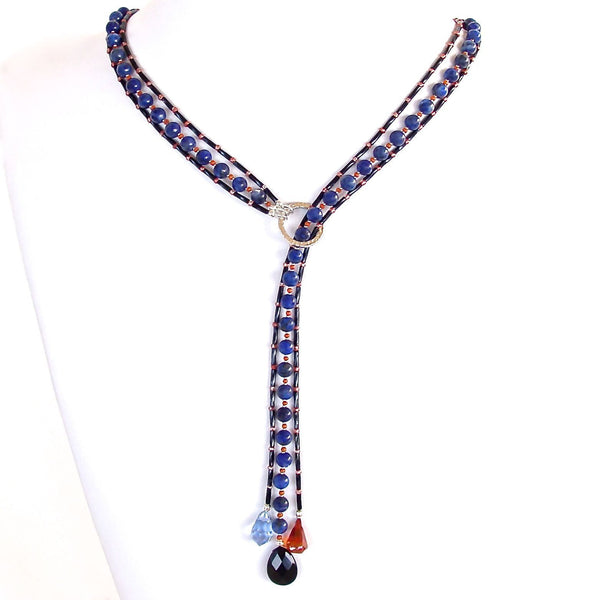 blue sodalite and coral handamde lariat necklace