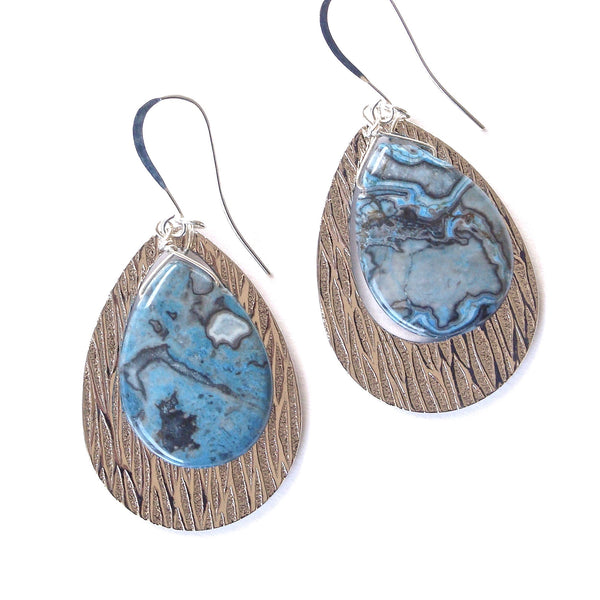 blue agate earrings with silver hoops