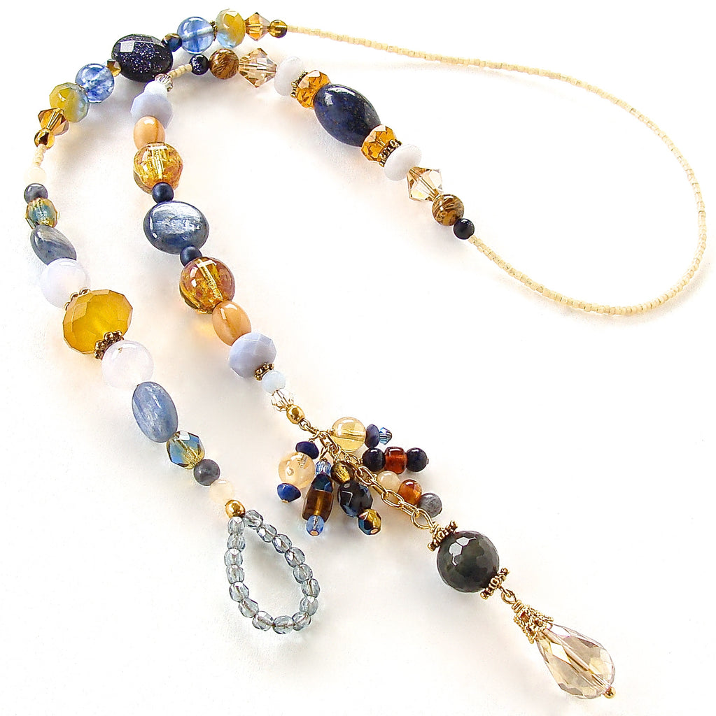 blue and amber handmade necklace