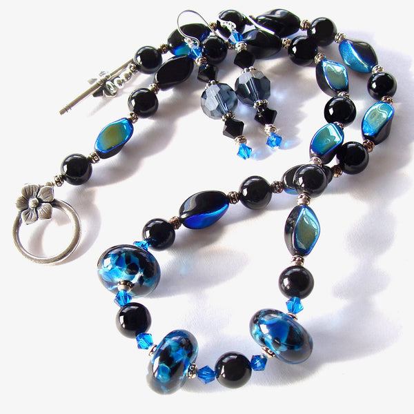 blue and black necklace set