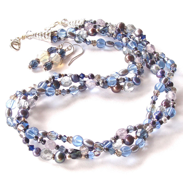 Macy: Blue and Silver Necklace