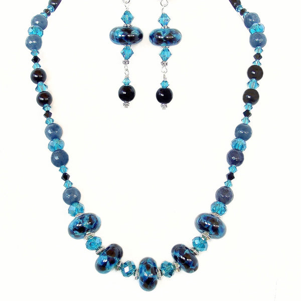 Astral: Teal and Black Necklace Set
