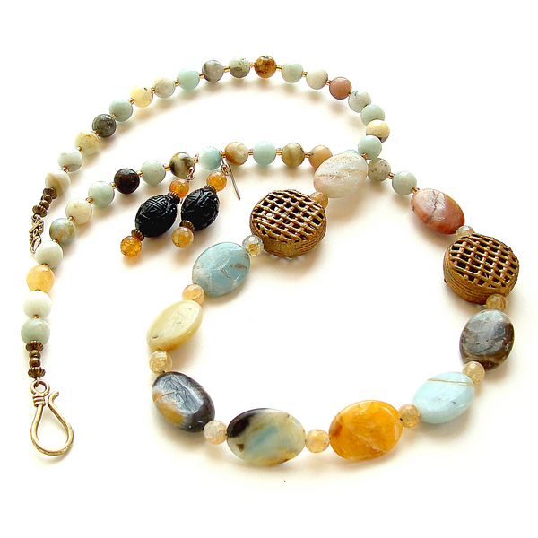 boho necklace with amazonite gemstones