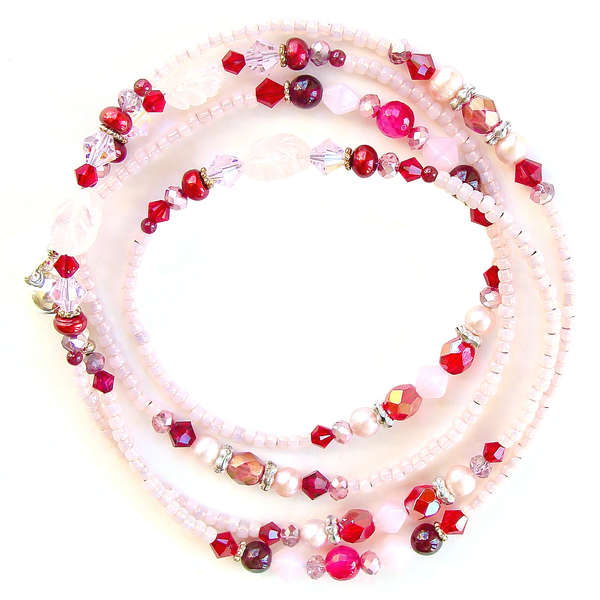 bracelet in red and pink.