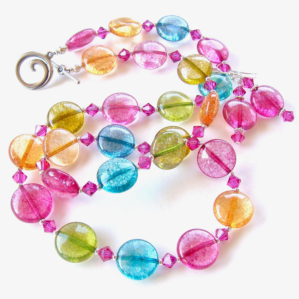 colorful necklace set with quartz gemstones