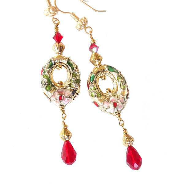 dangle earrings in red and gold