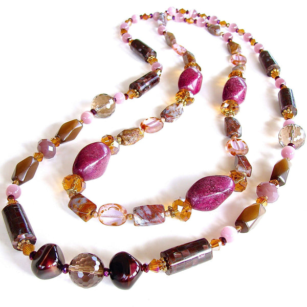 eclectic long necklace in purple and brown