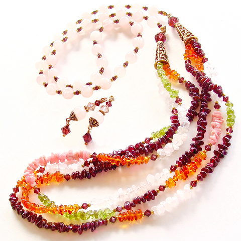 garnet and peridot necklace set