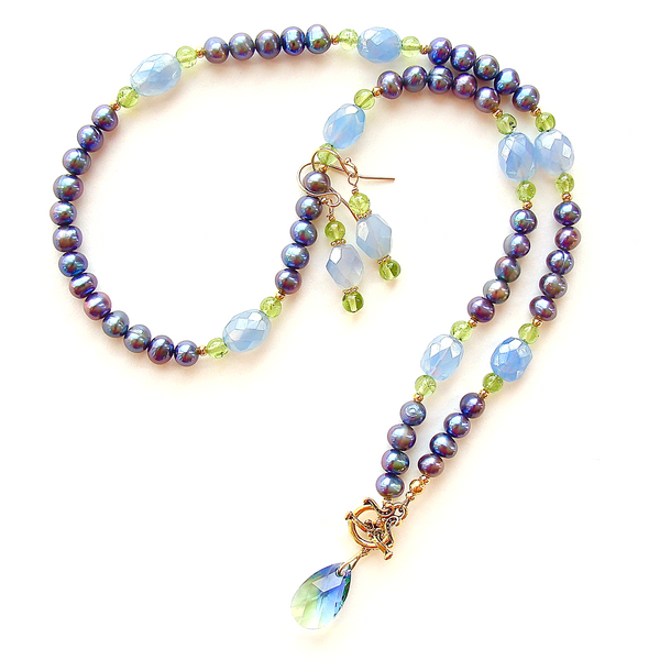 gemstone and pearl necklace set