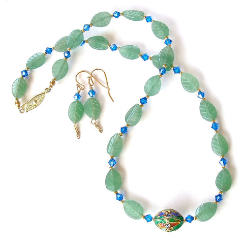 green aventurine necklace set