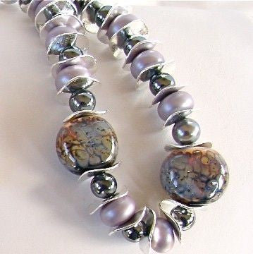 "Medley: 18.5"" Hand Blown Glass Bead Necklace Set"