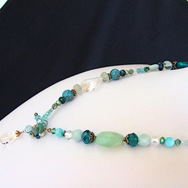 Chalcedony Lariat Necklace with Semi Precious Stones