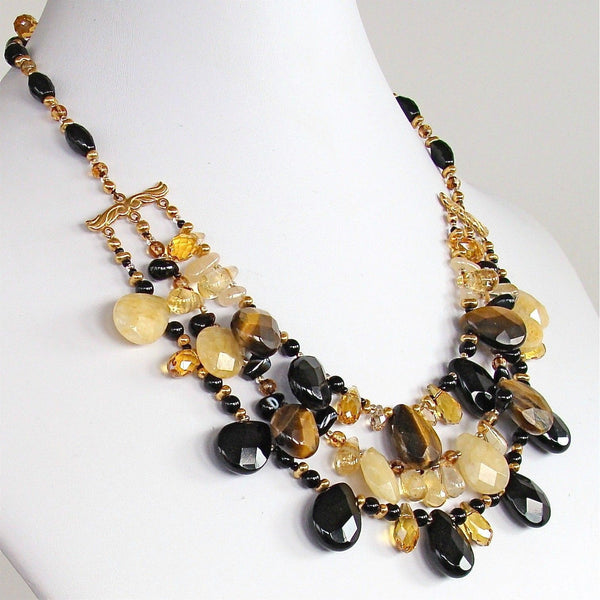 Handcrafted Smash Onyx and Tigers Eye Necklace