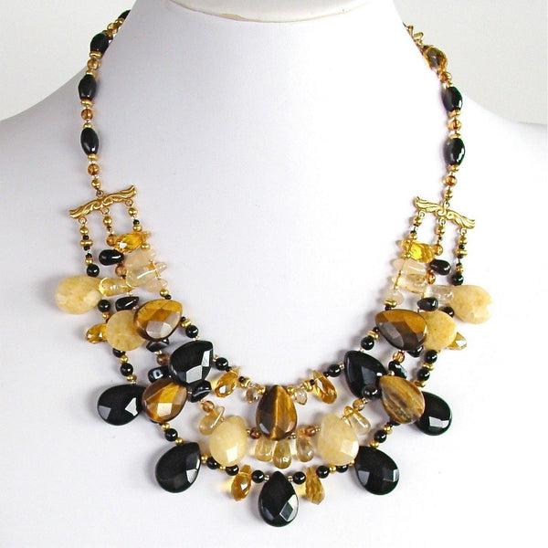Handmade Onyx and Tigers Eye Necklace