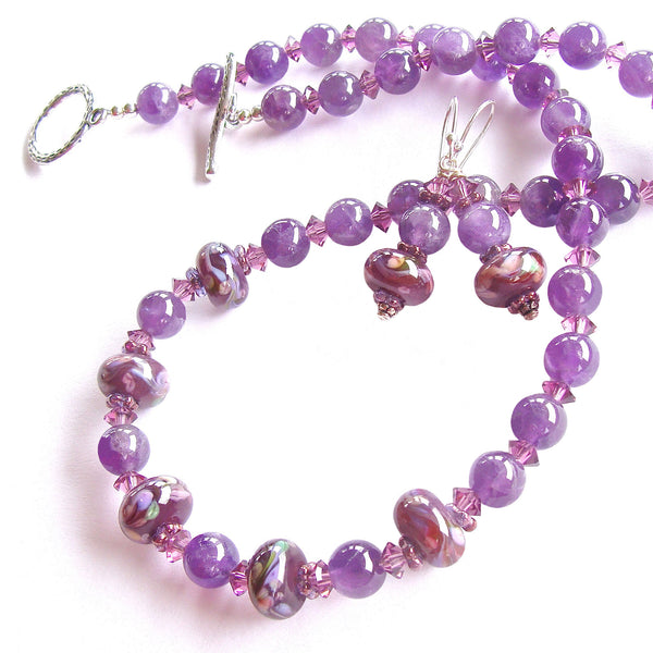 handmade amethyst necklace set