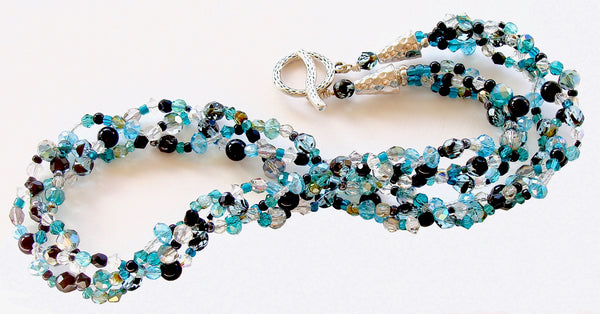 handmade teal crystal necklace
