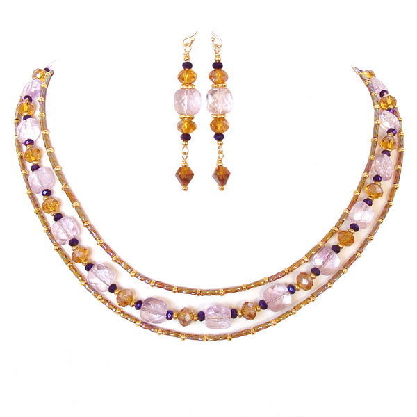 jewel tone necklace with amethyst