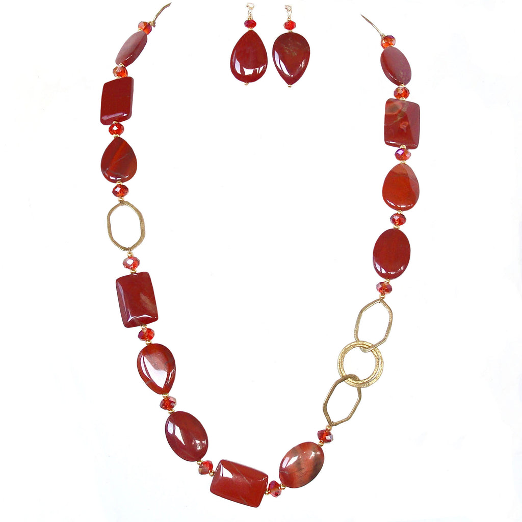 long red necklace set