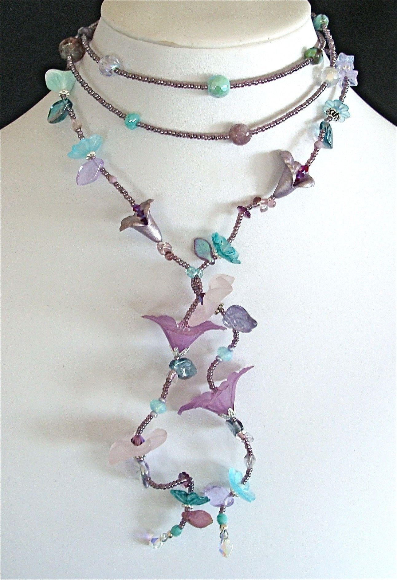 50 Mermaid Crystal Necklace In Purple And Aqua
