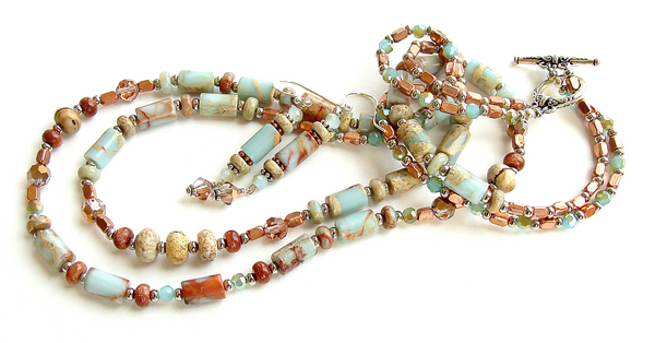 mixed metals necklace with jasper