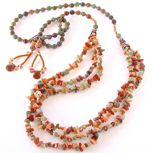 Orange gemstone necklace set