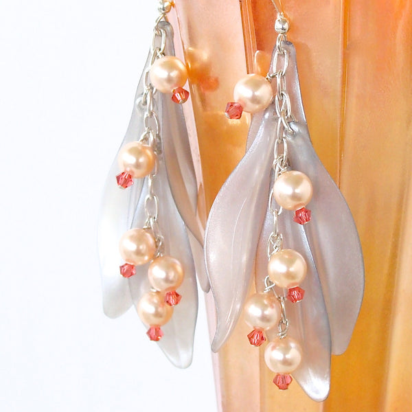 Peach crystal dangle earrings