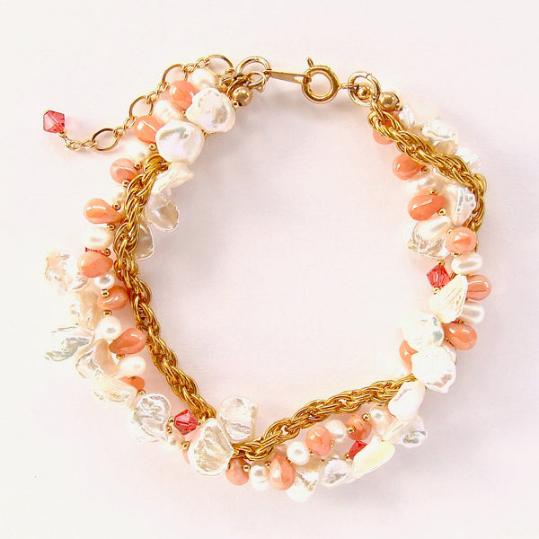 pearl bracelet with coral accents
