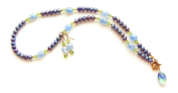 pearl and peridot necklace set