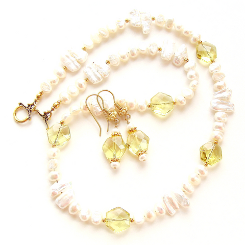 pearl necklace with lemon quartz
