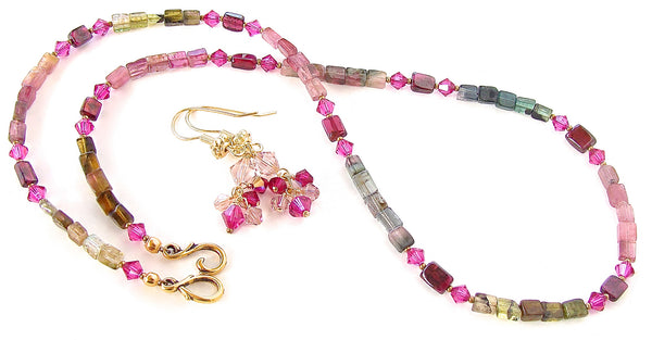 pink gem necklace