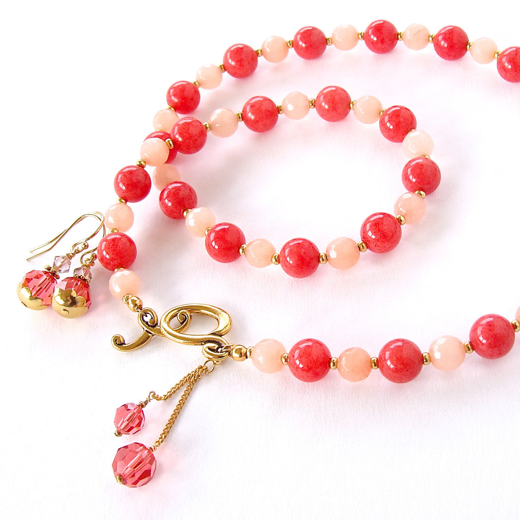Poppy: Coral Colored Necklace Set