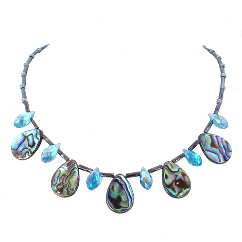 princess style necklace with abalone