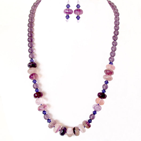 purple stone necklace set