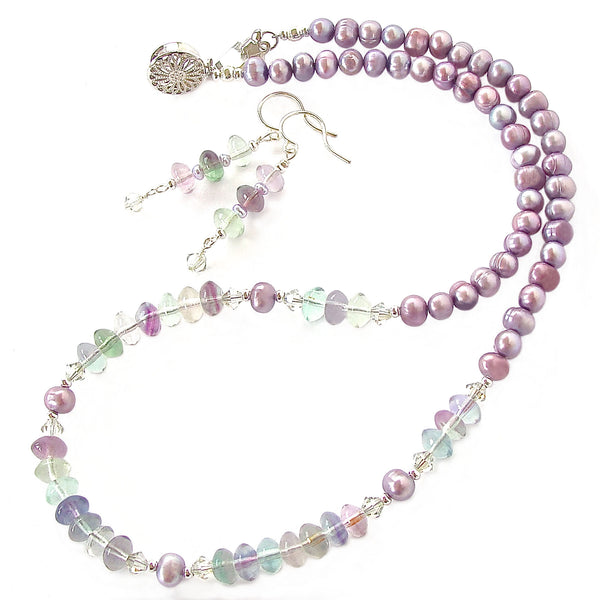 rainbow fluorite necklace set