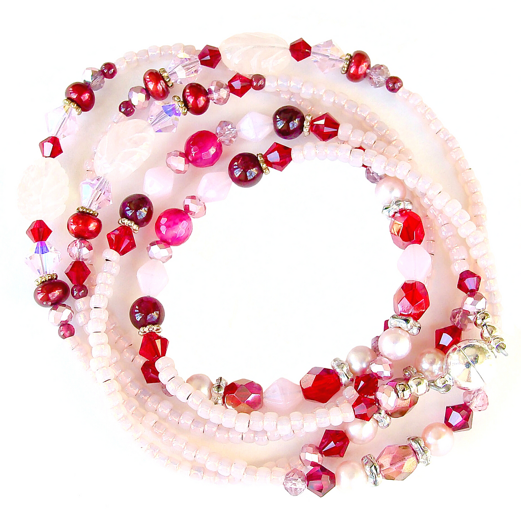 red and pink wrap bracelet