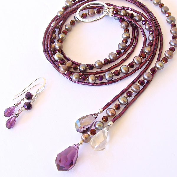 Moon Shadow: Plum Necklace of Crystal and Pearls
