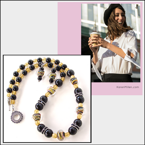 stylish apparel from KarenMillen.com with black and yellow necklace